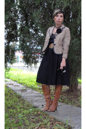 light brown plaid random brand jacket - tawny Guess boots - black Mango dress