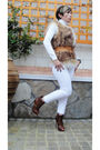 Brown-asos-boots-white-cheap-monday-jeans-white-zara-sweater-beige-vest-