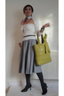Pink-malene-birken-skirt-paul-smith-scarf-olive-green-anne-klein-bag