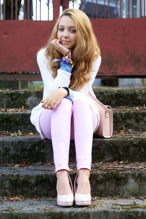 light pink Czas na buty shoes - white VJ Style sweater - light pink ARAFEEL bag