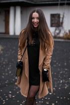 black deezee boots - black romwe dress - black H&M tights - black Choies bag
