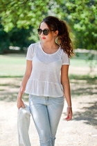 white Wholesale7 shoes - light blue Sheinside jeans - white Sinsay sweater