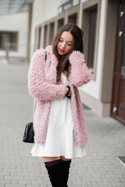 black deezee boots - white Yuliya Babich dress - light pink Sheinside coat