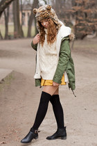ivory Sheinside sweater - black Choies shoes - olive green Sheinside coat