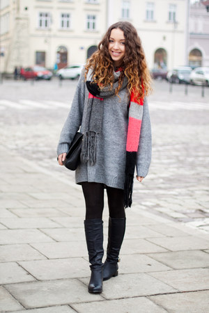 heather gray H&M sweater - black CzasNaButy boots - black OASAP tights