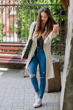 white deezee shoes - tan Dorothy Perkins coat - blue Topshop jeans