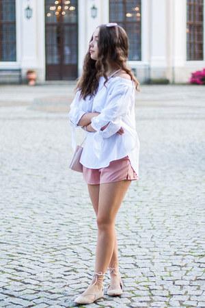 light pink Kiabi bag - beige reenee shoes - light pink romwe shorts