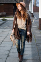 dark brown Choies boots - tan romwe hat - dark brown Choies sweater