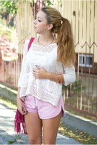 hot pink Pull & Bear bag - dark brown Dino Direct shoes - ivory chicnova sweater