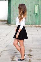 black H&M skirt - black Choies shoes - hot pink domodi bag