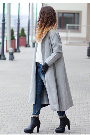 heather gray Sheinside coat - black romwe boots - navy Yoshee jeans