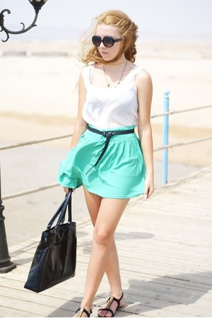 aquamarine Solilor skirt - black asos shoes - black Supergalanteria bag