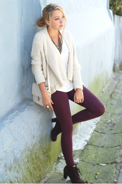 white Sheinside bag - dark brown romwe shoes - ivory Bershka sweater