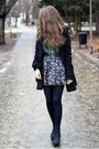 Navy-romwe-skirt-black-h-m-coat-turquoise-blue-h-m-sweater