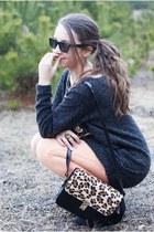 dark gray romwe sweater - peach romwe leggings - black VJ Style bag