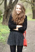 black OASAP sweater - black sholove shoes - red VJ Style bag