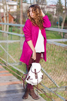 hot pink Wholesale7 coat - dark brown Choies boots - white OASAP sweater