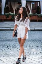 white Choies romper - black Zara bag - black pull&bear sandals