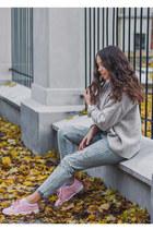white asos bag - light blue OASAP jeans - off white Zara sweater