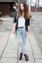 white etorba bag - crimson Zara boots - light blue OASAP jeans