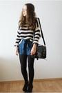 Navy-topshop-sweater-black-gatta-tights-black-romwe-bag-blue-romwe-shorts