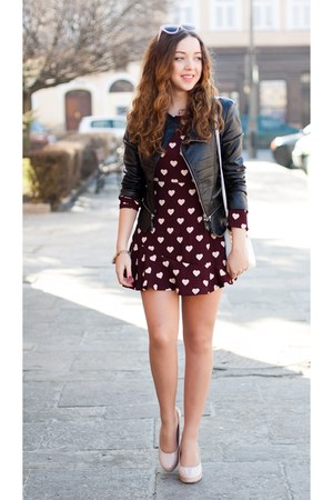 brick red Sheinside dress - light pink Choies shoes - black Sheinside jacket