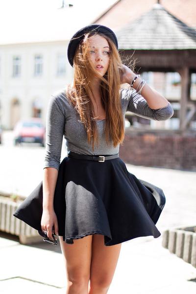 black romwe skirt - navy Stylish Plus shoes - gray romwe hat