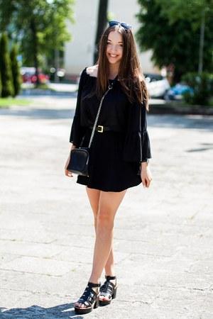 black Lalalilo shirt - black Zara bag - black Choies sunglasses