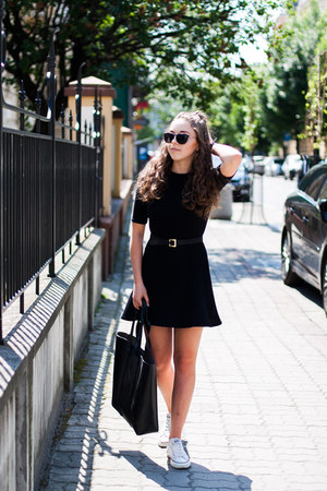 black Zara dress - white Converse shoes - black Medicine bag
