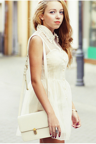 cream romwe dress - cream Sheinside bag - silver romwe bracelet