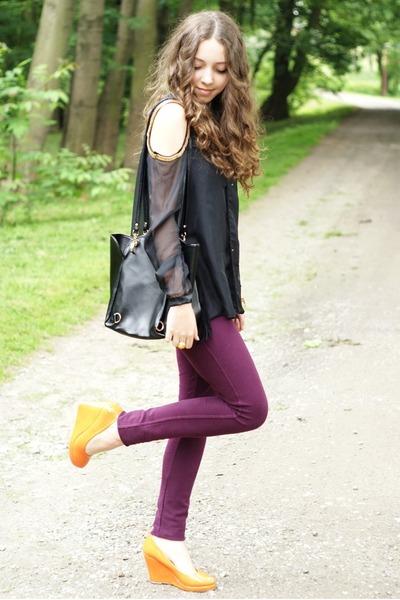 light orange Czas na buty shoes - black romwe bag - gold romwe bracelet