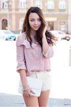 white no name shoes - light pink sammydress shirt - white Sheinside bag