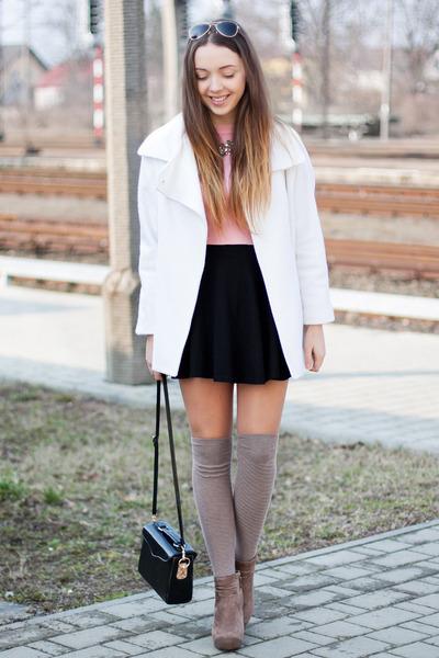 black Dressve bag - light brown romwe boots - white the wild flower shop coat