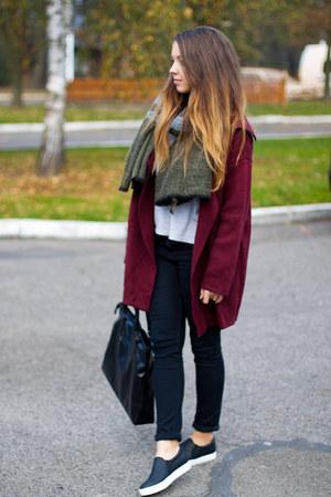black Yoins shoes - brick red Sheinside sweater - olive green Zara scarf