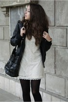 black Cutey shoes boots - white AX Paris dress - black c&a jacket