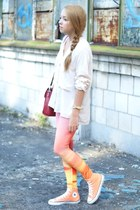 light pink romwe leggings - ruby red Sheinside bag - peach Converse sneakers