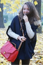 red H&M bag - brown Czas na buty boots - navy VJ Style coat