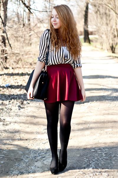 white SH top - black Papilion shoes - black Sheinside shirt - black H&M tights