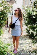 silver Missguided skirt - black Even&Odd bag - red rise eyewear sunglasses