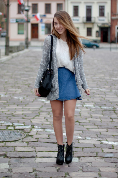 blue Red n bold skirt - black VJ Style boots - heather gray OASAP sweater