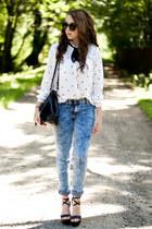 black PERSUNMALL shoes - white VJ Style shirt - black romwe bag