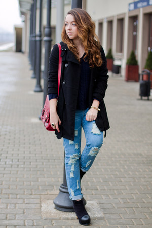 black PERSUNMALL boots - black H&M coat - navy Sheinside sweater