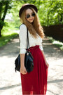Ruby-red-banggood-skirt-brown-papilion-shoes-dark-brown-romwe-hat
