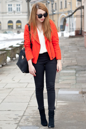 red Sheinside jacket - black H&M shoes - black etorba bag