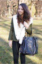 ivory Sheinside sweater - olive green romwe jacket - black Prada bag