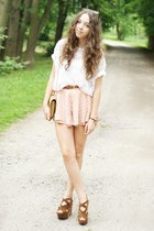 brown CzasNaButy wedges - tan OASAP bag - light pink Sheinside skirt