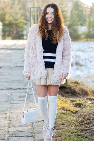 light pink romwe boots - light pink romwe coat - black OASAP sweater