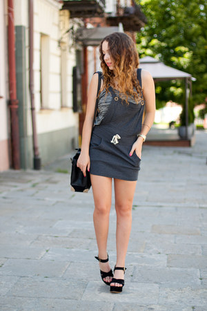 black Wholesale7 shoes - charcoal gray blackfive dress - black VJ Style bag