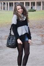 dark gray AX Paris sweater - white New Yorker scarf - navy New Yorker shorts