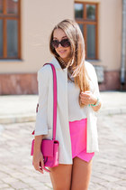 ivory romwe jacket - tan Wholesale7 shoes - hot pink Mizensa bag